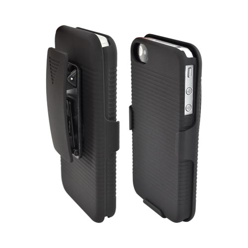 Premium AT&T/Verizon Apple iPhone 4 Rubberized Hard Case, Holster, & Stand Combo - Black