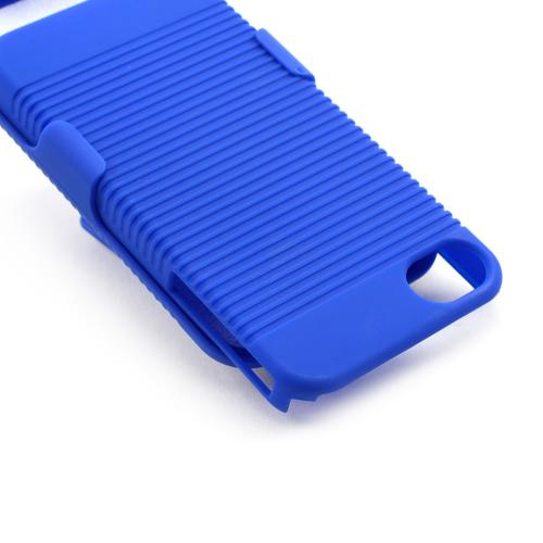 Apple AT&T/ Verizon iPhone 4 Rubberized Hard Case w/ Holster Stand - Blue