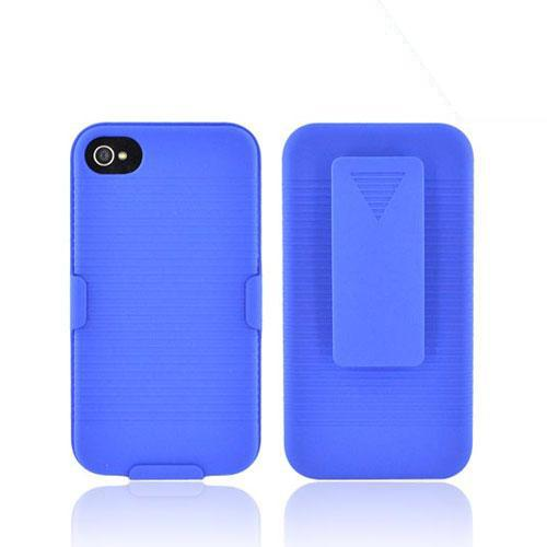 Premium AT&T/Verizon Apple iPhone 4 Rubberized Holster and Case Combo - Blue - XXIP4
