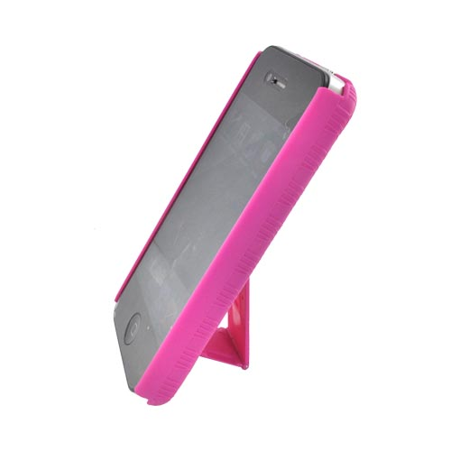 Apple AT&T/ Verizon iPhone 4 Rubberized Hard Case w/ Holster Stand - Rose Pink