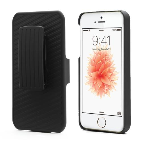 Apple iPhone SE / 5 / 5S Holster Case,  [Black]  Supreme Protection Slim Matte Rubberized Hard Plastic Case Cover with Kickstand and Swivel Belt Clip