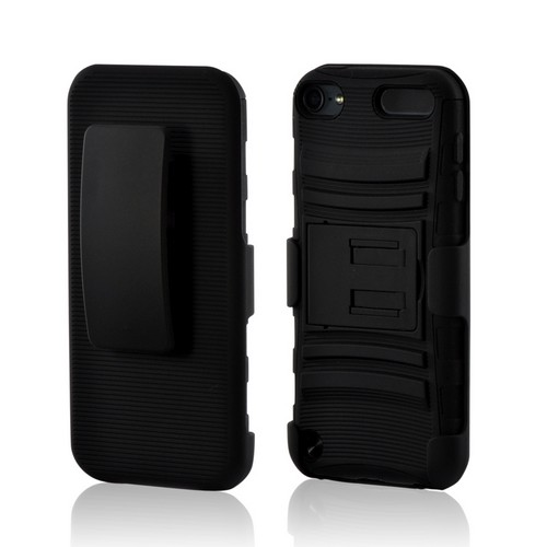 Black Rubberized Hard Cover On Silicone Case w/ Stand & Holster Stand w/ Swivel Belt Clip for Apple iPod Touch 5