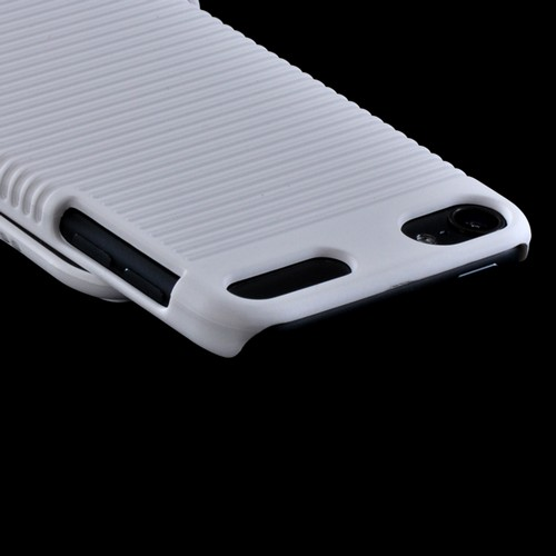 White Holster Combo Hard Case w/ Belt Clip & Kickstand for Apple iPod Touch 5