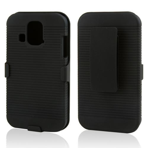 Black Rubberized Hard Case & Holster Combo w/ Kickstand & Swivel Belt Clip for Kyocera Hydro XTRM