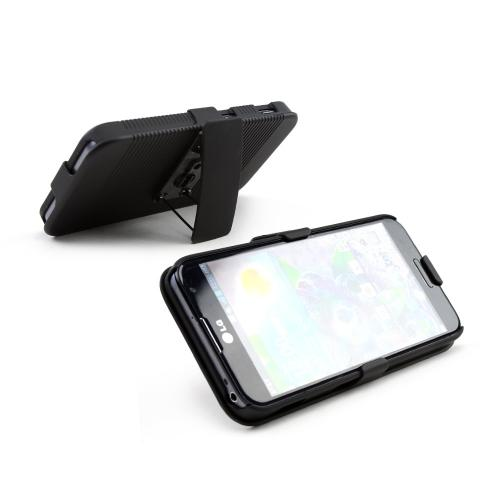 Black Rubberized Hard Case & Holster Combo w/ Kickstand & Swivel Belt Clip for LG Optimus G Pro