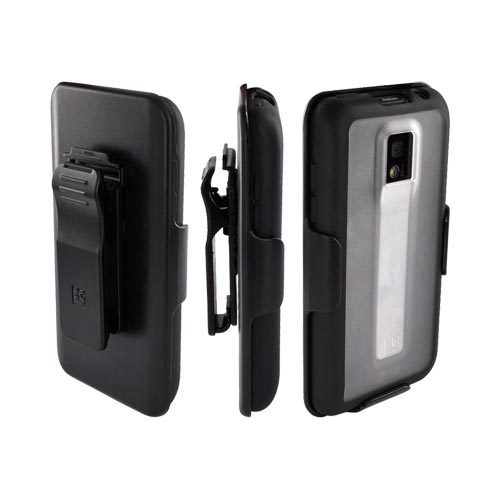 Premium T-Mobile G2X Hard Case w/ Gummy Silicone Border w/ Screen Protector & Holster - Black/ Clear