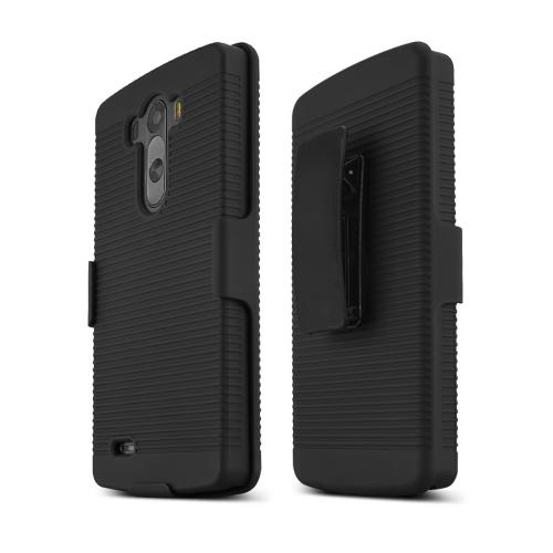 LG G3 Case, [Black]  Supreme Protection Slim Matte Rubberized Hard Plastic Case Cover with Kickstand and Swivel Belt Clip