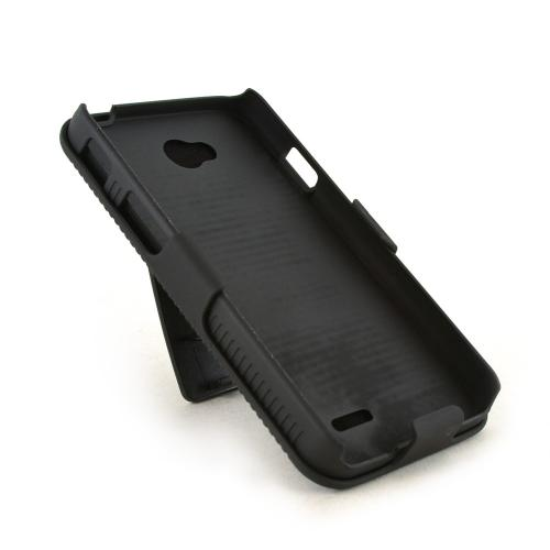 Black LG Optimus Exceed 2/ LG L70 Rubberized Hard Case & Holster Combo w/ Kickstand & Swivel Belt Clip
