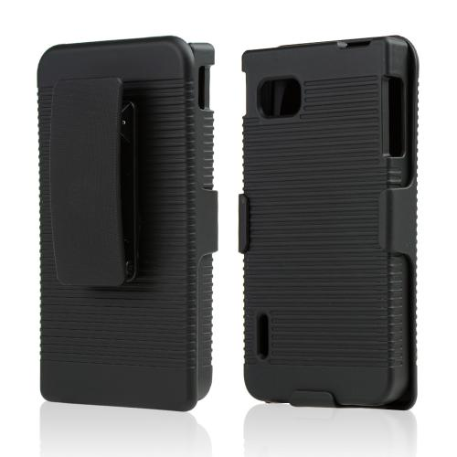Black Rubberized Hard Case & Holster Combo w/ Kickstand & Swivel Belt Clip for LG Optimus F3 - Sprint/ Virgin Mobile