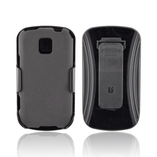 LG Optimus M MS690 Rubberized Hard Case w/ Screen Protector & Holster - Black