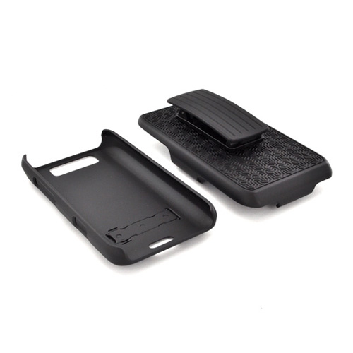 LG Viper 4G LTE/ LG Connect 4G Rubberized Hard Case w/ Holster & Kickstand - Black