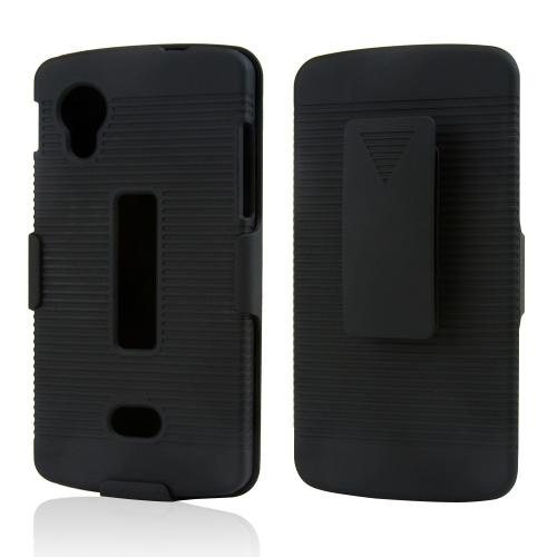 Black Rubberized Hard Case & Holster Combo w/ Kickstand & Swivel Belt Clip for LG Google Nexus 5