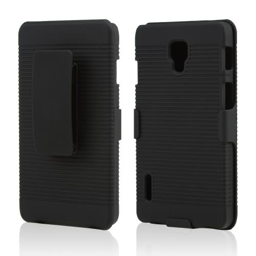 Black Rubberized Hard Case & Holster Combo w/ Kickstand & Swivel Belt Clip for LG Optimus F7
