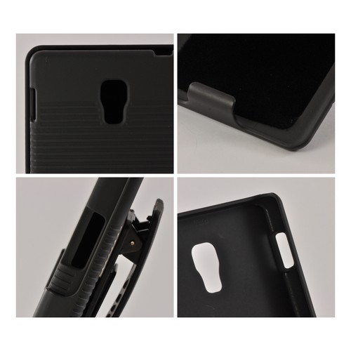 Black Rubberized Hard Case Holster Combo w/ Kickstand & Swivel Belt Clip for LG Optimus L9