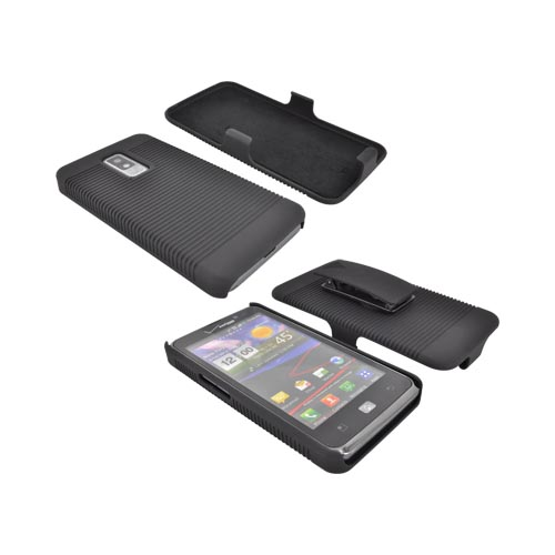 LG Spectrum Rubberized Hard Case w/ Holster Stand - Black