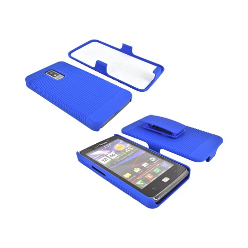 LG Spectrum Rubberized Hard Case w/ Holster Stand - Blue