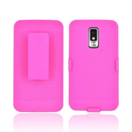 LG Spectrum Rubberized Hard Case w/ Holster Stand - Pink