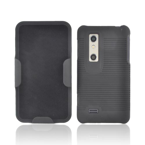LG Thrill 4G Rubberized Hard Case w/ Holster Stand - Black