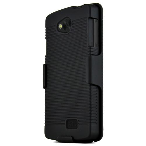 Lg Transpyre / Tribute Protective Hard Case W/ Holster [black] Rugged Heavy Duty Shockproof Case W/ Holster & Belt Clip