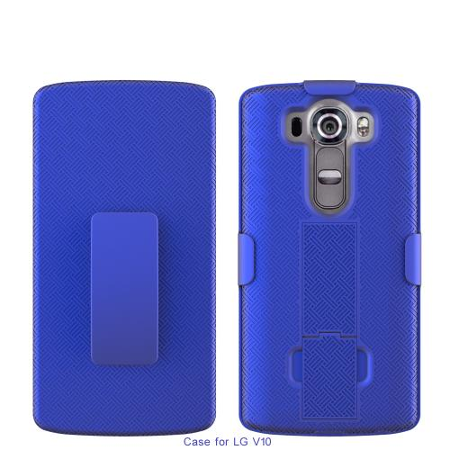 LG V10 Case,  [Blue]  Supreme Protection Slim Matte Rubberized Hard Plastic Case Cover with Kickstand and Swivel Belt Clip
