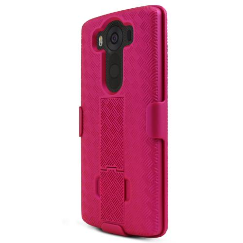 LG V10 Case,  [Hot Pink]  Supreme Protection Slim Matte Rubberized Hard Plastic Case Cover with Kickstand and Swivel Belt Clip
