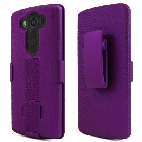 LG V10 Case,  [Purple]  Supreme Protection Slim Matte Rubberized Hard Plastic Case Cover with Kickstand and Swivel Belt Clip