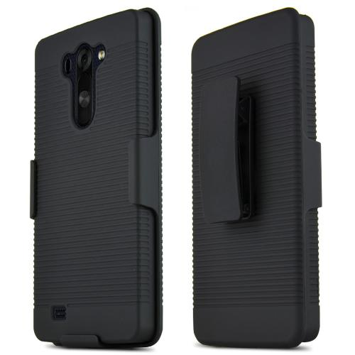 Black LG G Vista Rubberized Hard Case & Holster Combo w/ Kickstand & Swivel Belt Clip