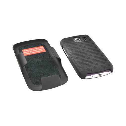 LG Vortex Rubberized Textured Hard Case & Holster w/ Rotating Belt Clip Combo - Black