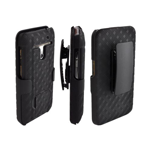 LG Revolution, LG Esteem Rubberized Textured Hard Case & Holster w/ Rotating Belt Clip & Stand Combo - Black