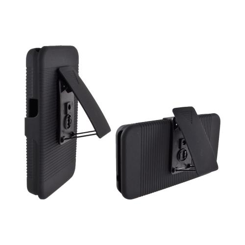 LG Revolution, LG Esteem Rubberized Hard Case and Holster w/ Kickstand & Belt Clip - Black