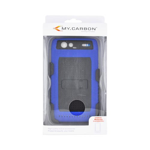 Motorola Droid RAZR Hard Case w/ Screen Protector & Holster - Black/ Blue