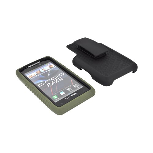 Motorola Droid RAZR Silicone Over Hard Case w/ Screen Protector, Kickstand, & Holster - Black/ Forest Green