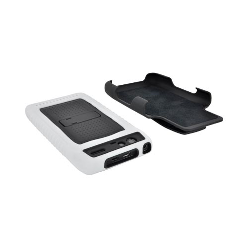 Motorola Droid RAZR Silicone Over Hard Case w/ Screen Protector, Kickstand, & Holster - Black/ White