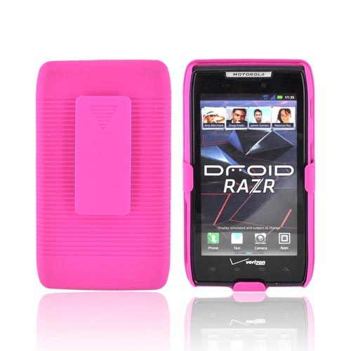 Motorola Droid RAZR Rubberized Hard Case w/ Holster Stand - Hot Pink