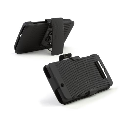 Black Rubberized Hard Case & Holster Combo w/ Kickstand & Swivel Belt Clip for Motorola Droid Mini