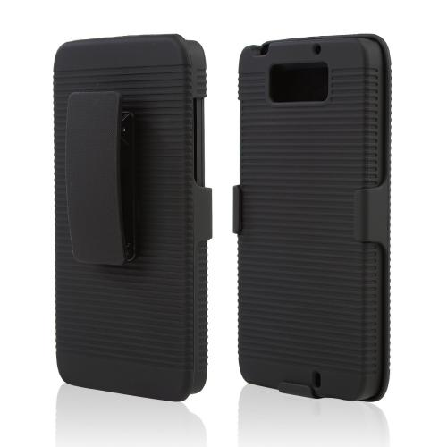 Black Rubberized Hard Case & Holster Combo w/ Kickstand & Swivel Belt Clip for Motorola Droid Ultra/ Droid MAXX