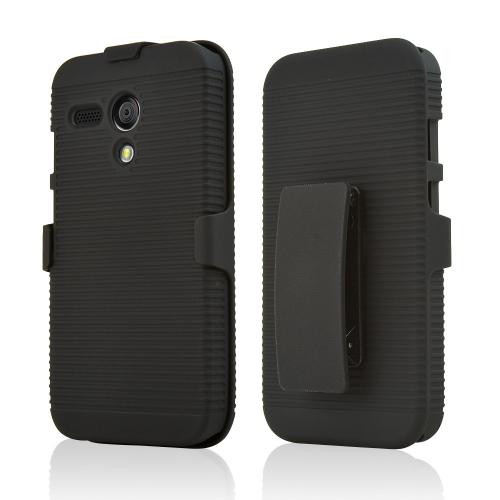 Motorola Moto G Case, Black Rubberized Hard Case & Holster Combo w/ Kickstand & Swivel Belt Clip