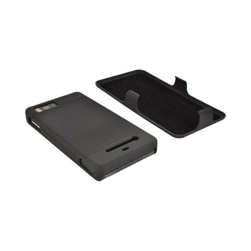 Motorola Droid X MB810 Rubberized Hard Case and Holster Combo - Black