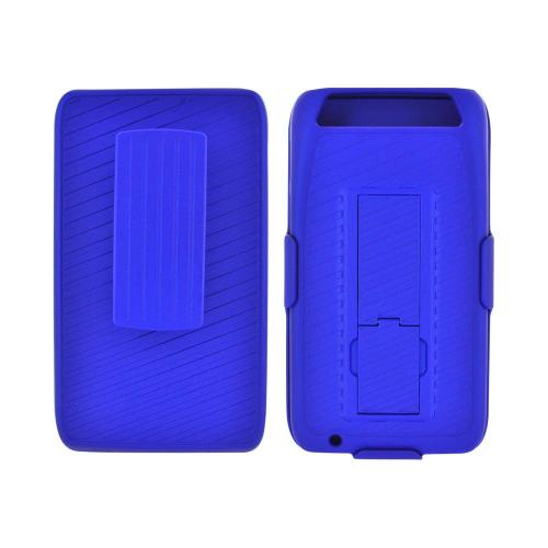 Motorola Atrix HD Rubberized Hard Case Stand w/ Holster & Belt Clip - Blue