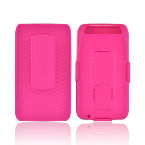Motorola Atrix HD Rubberized Hard Case Stand w/ Holster & Belt Clip - Hot Pink