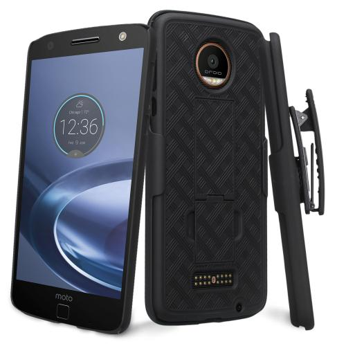 Motorola Moto Z Holster Case, Supreme Protection Slim Matte Rubberized Hard Plastic Case Cover with Kickstand and Swivel Belt Clip [Black]