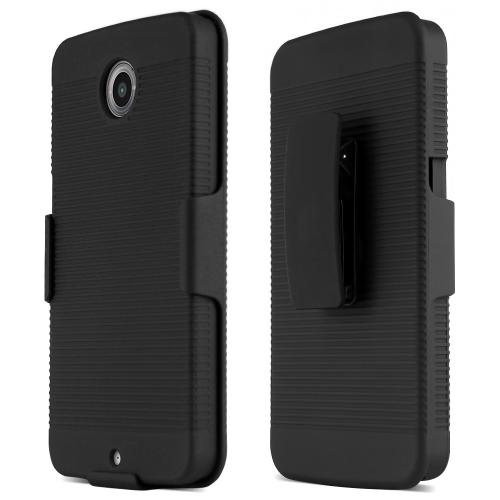 Nexus 6 Case, [] Supreme Protection Rubberized Plastic on Silicone Dual Layer Hybrid Case with Holster & Belt Clip for Motorola Nexus 6