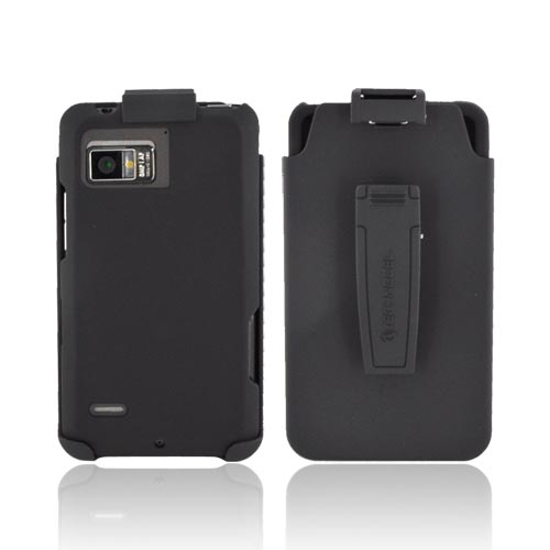 Premium Motorola Droid Bionic XT875 Rubberized Hard Case & Holster w/ Rotating Belt Clip - Black