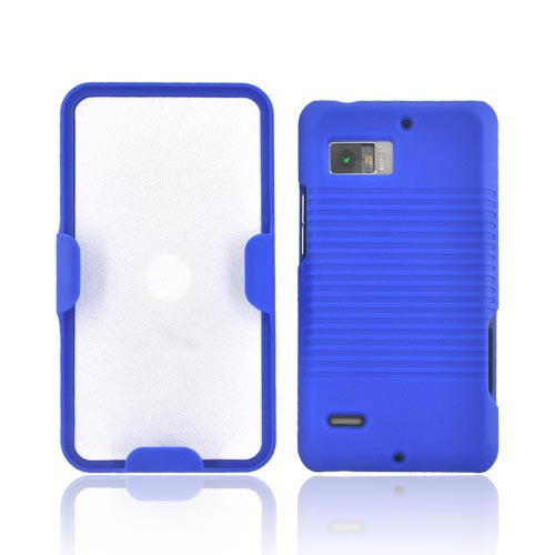 Motorola Droid Bionic XT875 Rubberized Hard Case w/ Holster Stand - Blue
