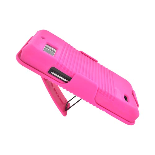 Motorola Droid Bionic XT875 Rubberized Hard Case w/ Holster Stand - Hot Pink