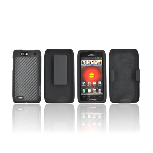 Motorola Droid 4 Rubberized Hard Case & Holster Combo - Black Carbon Fiber