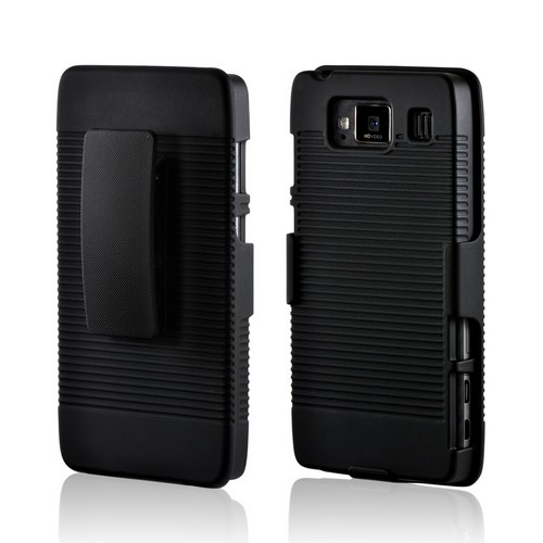 Black Rubberized Hard Case & Holster Combo w/ Stand & Belt Clip for Motorola Droid RAZR HD