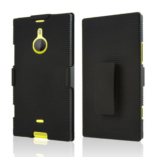 Black Rubberized Hard Case & Holster Combo w/ Kickstand & Swivel Belt Clip for Nokia Lumia 1520