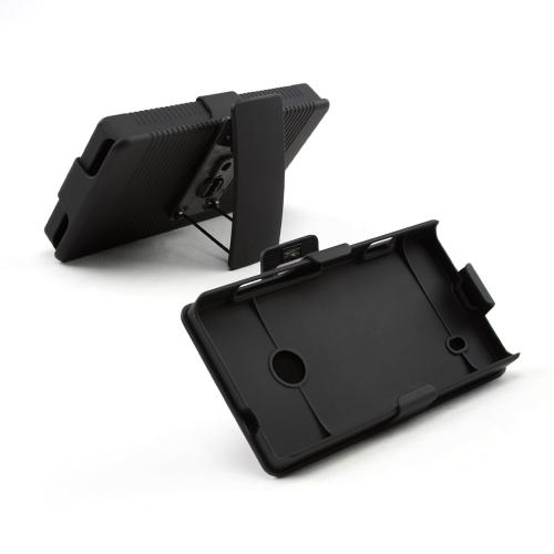 Black Rubberized Hard Case & Holster Combo w/ Kickstand & Swivel Belt Clip for Nokia Lumia 521