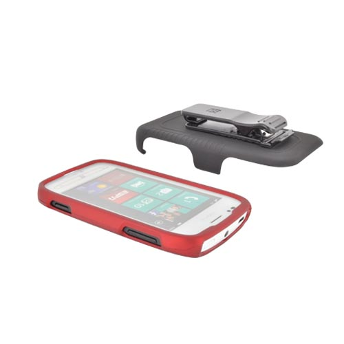 Premium Nokia Lumia 710 Rubberized Holster and Case Combo w/ Screen Protector, Swivel Belt Clip, & Stand - Black/ Red